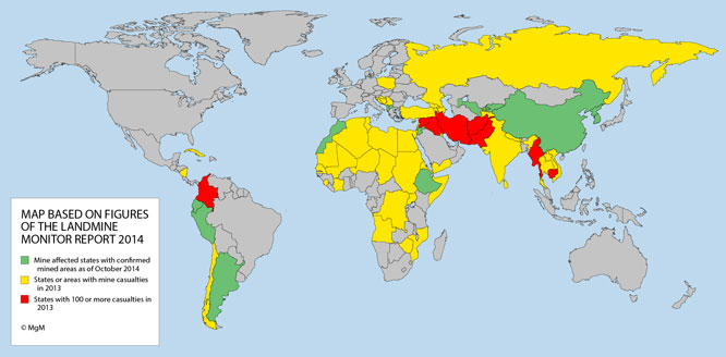 World map showing the global mine problem